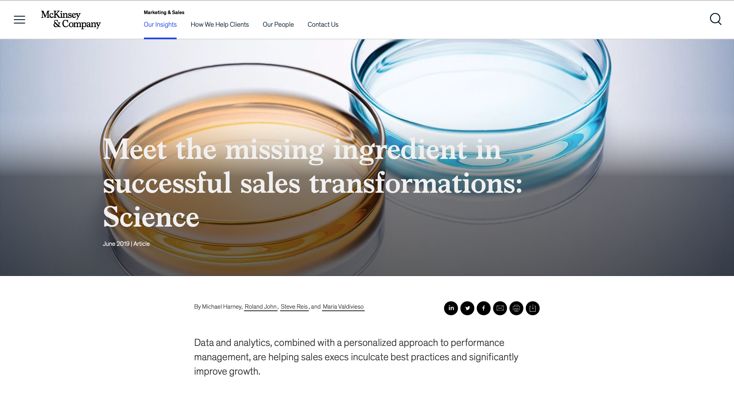 McKinsey blog. Science of sales transformation